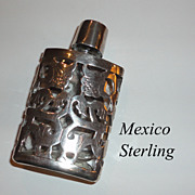 Vintage Mexico Sterling Silver Overlay Ornate Miniature Perfume Bottle