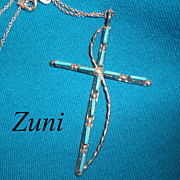 Vintage Zuni Petit Point Cross Necklace Sterling Silver Native American