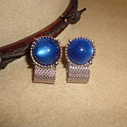 Vintage Blue Moonglow Cufflinks with Silver Tone Mesh Wrap Design