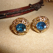 Vintage Blue Rhinestone Filigree Fancy Cufflinks for Guys or Gals