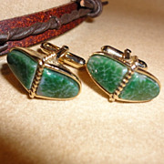 Vintage Green Art Glass Faux Jade Cufflinks by Swank