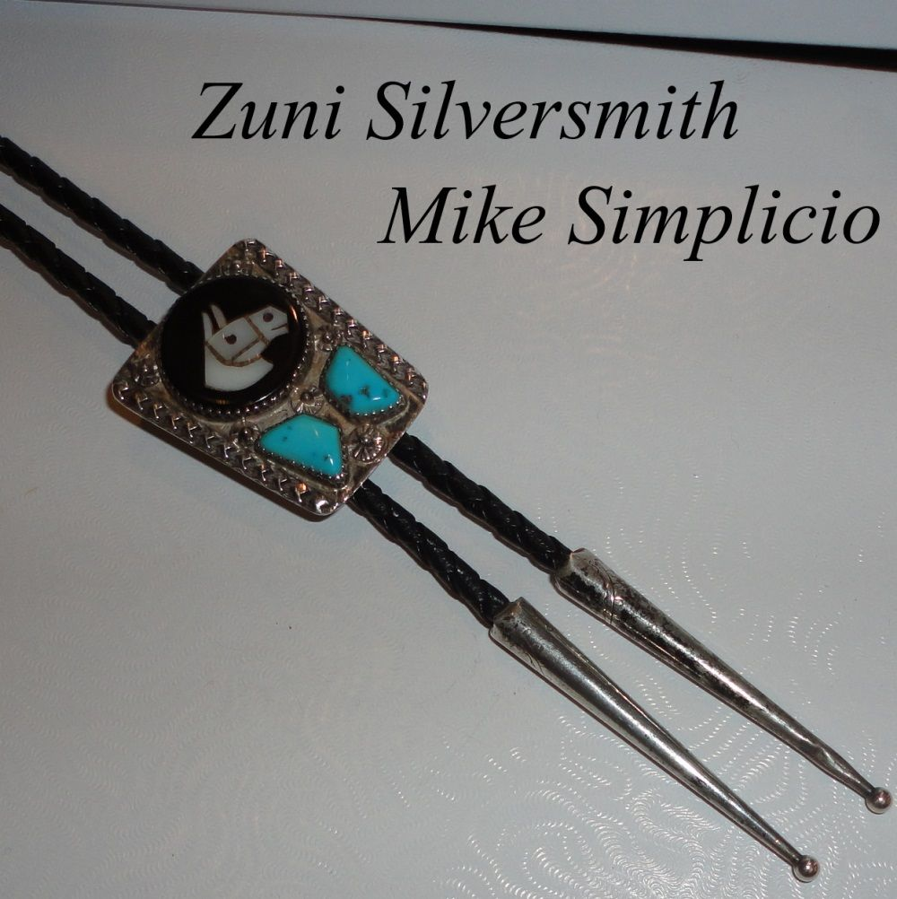 Zuni Native American Mike Simplicio Stone Inlaid Horse Turquoise Bolo Tie