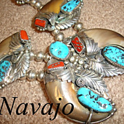 Vintage Navajo Sterling Silver Bear Claw Turquoise Coral Squash Blossom Necklace Earrings Set