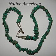 Vintage Native American Green Turquoise Nugget Necklace Single Strand