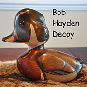 Vintage Bob Hayden Hand Carved Wood Duck Decorative Decoy Hand Painted Signed