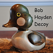 Vintage Bob Hayden Hand Carved Duck Decoy Hand Painted Common Goldeneye Signed