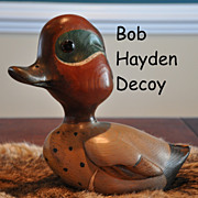 Vintage Bob Hayden Signed Hand Carved Duck Decorative Decoy Green-Winged Teal
