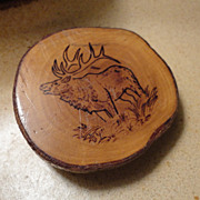 Vintage Pyrography Wood Burned Wooden Carved Elk Belt Buckle