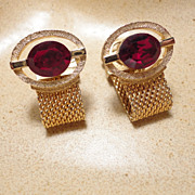 Vintage Red Rhinestone Gold Tone Mesh Wrap Around Cufflinks