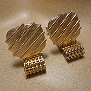 Large Gold Tone Mesh Wrap Around Men's Cufflinks