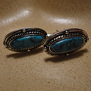 Big Oval Faux Turquoise Men's Silver Tone Cufflinks