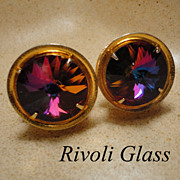 Rivoli Glass Colorful Big Bold Vintage Cufflinks