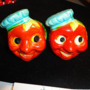 Anthropomorphic Salt & Pepper Shakers Set Military Sailor Tomatoes!