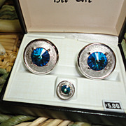 Blue Rivoli Glass Silver Tone Shields Cufflinks Vintage New in Box