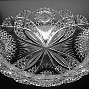 A Great Large Oval American Brilliant Cut Glass Tray in Hawkes Chrysanthemum Pattern