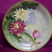 SALE Limoges hand painted Cactus Flower Charger, Limoges  Artist  j.Barin  Signed
