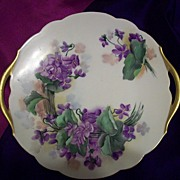 SALE Limoges Hand Painted Violets Ruffled Handled Charger ,Artist Signed