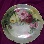"13"" Fabulous Haviland Limoges Hand Painted Rose Charger, Artist Signed,Ca  1900s"