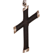 Victorian Mourning Cross Pendant 14kt Rose Gold
