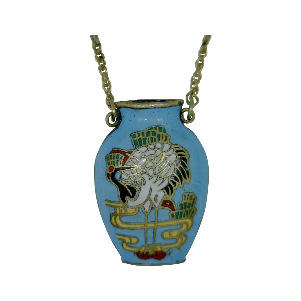 Light Blue Cloisonne Enameled Pendant With Crane Motif
