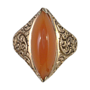 Victorian 10kt Gold Carnelian Marquise Ring