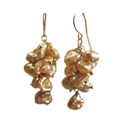 Peach Pink Keshi Pearl Earrings