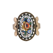 Victorian Micro Mosaic 10kt Gold Ring