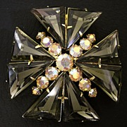 "Juliana D&E Maltese Cross ""Kite"" Rhinestone Brooch, circa 1960s"