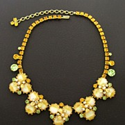 ALICE CAVINESS Rhinestone & Art Glass Necklace, circa 1960s