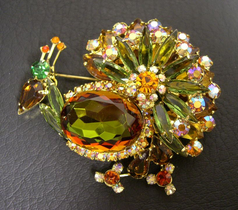 DeLizza & Elster JULIANA Peacock Brooch, circa 1960s