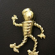 SALE Art Deco Gold-Plated Dust Mop Bellhop Brooch, circa 1920s