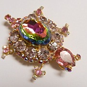 Juliana Pink Watermelon Heliotrope Turtle Brooch, circa 1960s