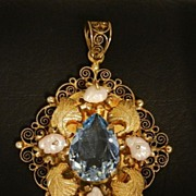 Old Silver Vermeil Filigree Pendant with Pearls and Topaz Color Stone