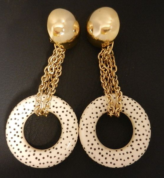 Vintage Runway Style Black & Cream Polka Dot Pendant Earrings, circa 1980s