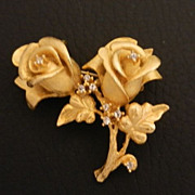 SALE Erwin Pearl Rhinestone Golden Rose Brooch