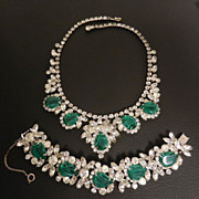 "Juliana ""Flawed Emerald"" Demi Parure Rhinestone Necklace & Bracelet, circa 1964"