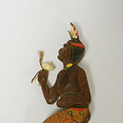 SALE Rare Vintage Wooden Native American Dancer Brooch, circa 1940s
