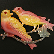 SALE Vintage Enamel Metal Bird Pin, circa 1940s