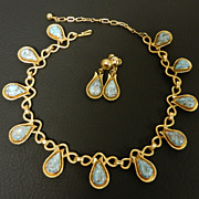 Vintage Turquoise Glass Paisley-shaped  Necklace & Earrings, circa 1960s