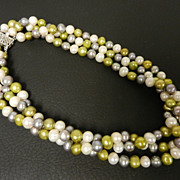 SALE Tri Color Genuine Pearl Three Strand Necklace