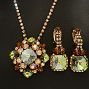 D&E Juliana Green Rivoli Rhinestone Necklace & Earrings Set, circa 1960s