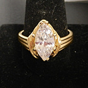 Ladies Golden Imitation Diamond Marquise Dinner Ring size 13