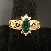 Ladies Golden Imitation Emerald Marquise Dinner Ring size 8