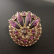 Vintage Purple & Grey Rhinestone Cocktail Ring size 5 1/2