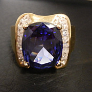 SALE Gold Clad Sterling Synthetic Cushion Tanzanite & CZ Baguette Cocktail Ring size 9