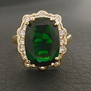 SALE Gold Clad Sterling Imitation Emerald CZ Cocktail Ring size 8 3/4