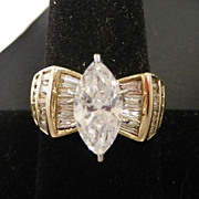 Gold Clad Sterling Marquise & Baguette CZ Cocktail  Ring, size 9