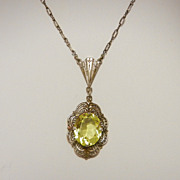 Old Sterling Filigree Necklace w/ Citrine Yellow Stone, circa 1920s