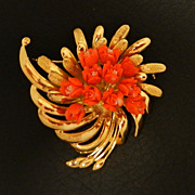 SALE Golden Vermeil Coral Flower Bouquet Brooch / Necklace Pendant