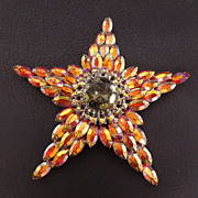 "SALE Rare Huge Nearly 5"" Juliana Rhinestone Star Brooch/ Pendant, circa 1960s"